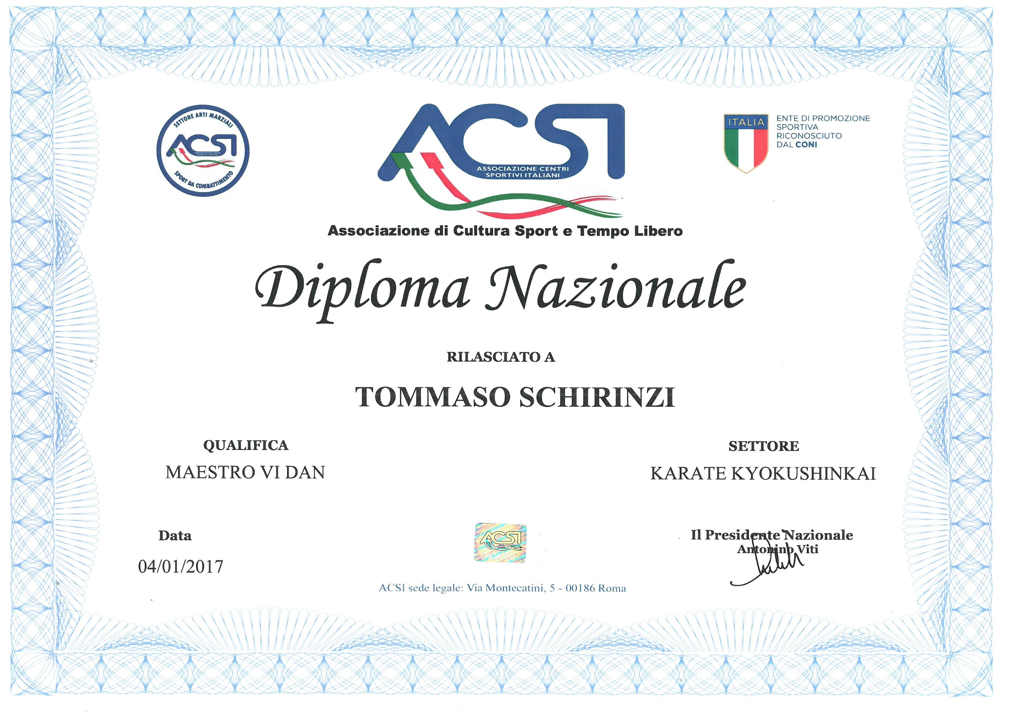 acsi karate tommaso schirinzi diploma maestro riconoscimento grado ente kyokushinkai shihan parte dell